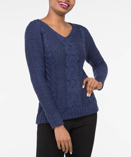 Cable Knit V-Neck Sweater, Inky Blue Mix, hi-res