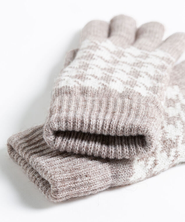 Houndstooth Chenille Lined Gloves, Taupe/Pearl, hi-res