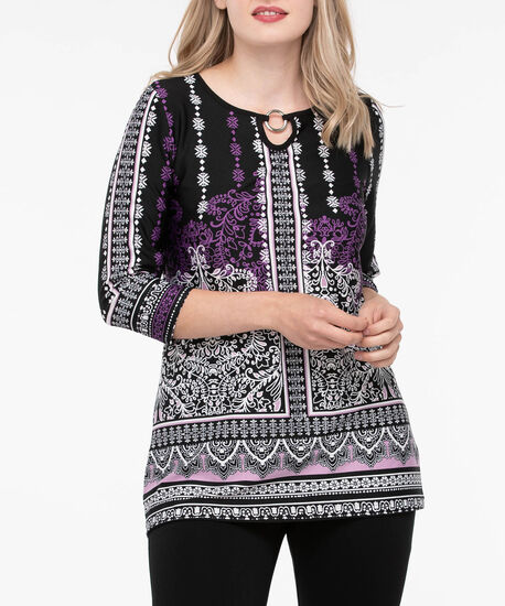 O-Ring Keyhole Neck Tunic, Purple/Lilac/Black/Pearl, hi-res