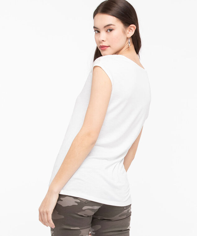 Lace Detail V-Neck Tee, Pearl, hi-res