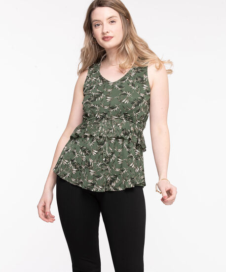 Sleeveless Mesh Cha Cha Top, Olive Night, hi-res
