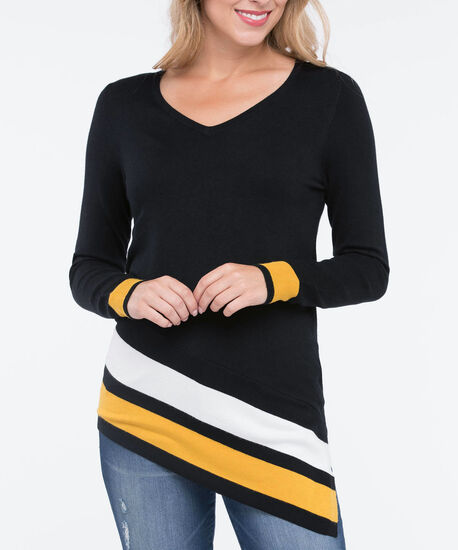 Asymmetrical V-Neck Pullover Sweater, Black/Pearl/Marigold, hi-res