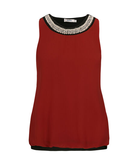 Sleeveless Bubble Hem Blouse, Cherry/Black, hi-res