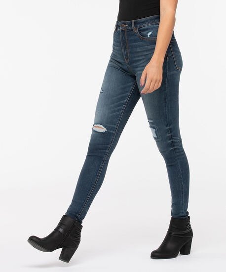 Distressed High Rise Jegging, Dark Wash, hi-res