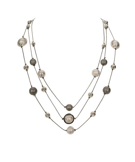 Stationed Sanded Ball Necklace, Rhodium/Hematite, hi-res