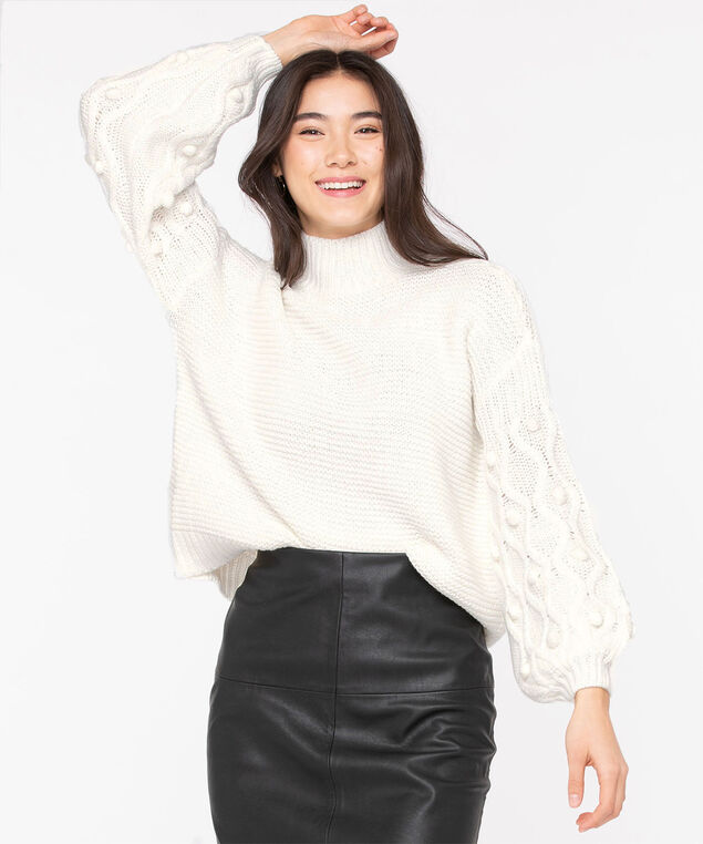Pom Pom Balloon Sleeve Sweater, Pristine