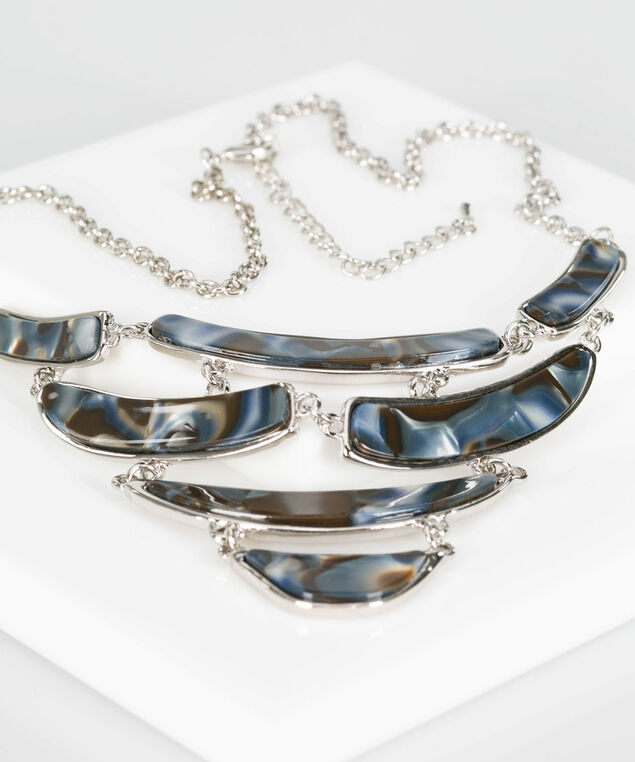 Resin Statement Necklace, Rhodium/Ink Blue, hi-res