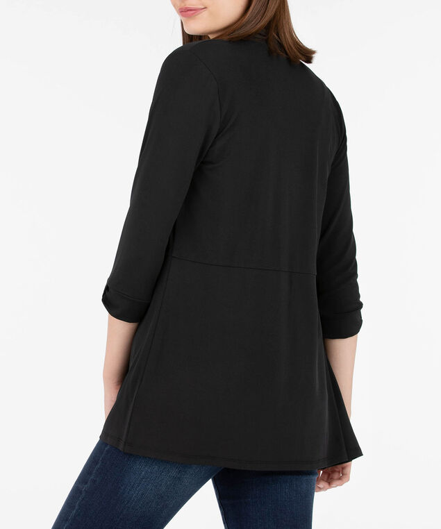 Bow Cuffed Open Knit Cardigan, Black, hi-res