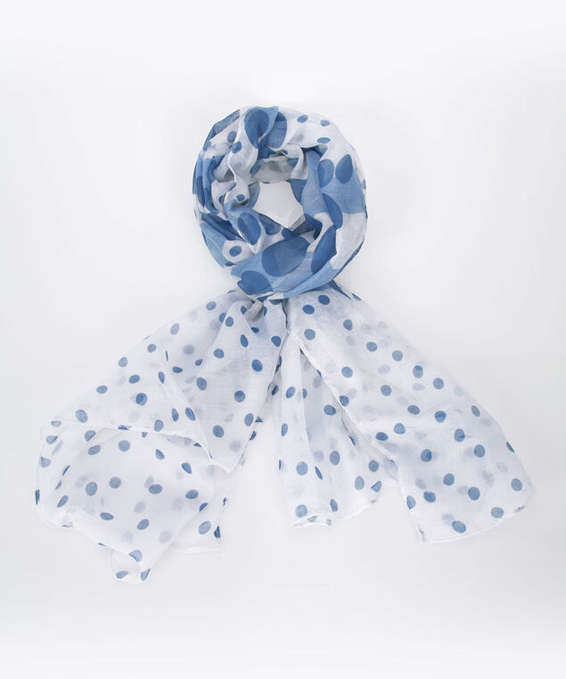 Polka Dot Oblong Scarf, Blue/Pearl, hi-res