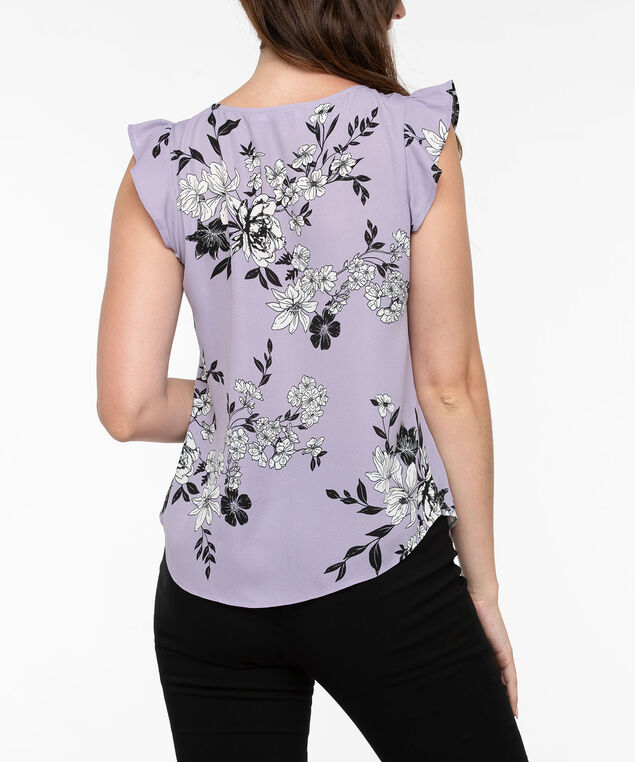 Flutter Sleeve Button Trim Blouse, Mauve/Black/Pearl, hi-res