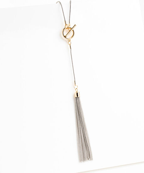 Mixed Metal Tassel Necklace, Gold/Silver, hi-res