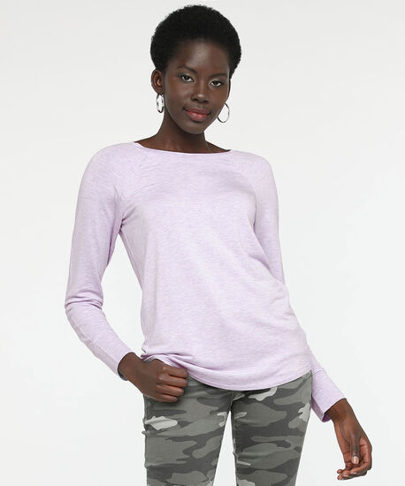 Long Sleeve Button Back Top, Lavender, hi-res