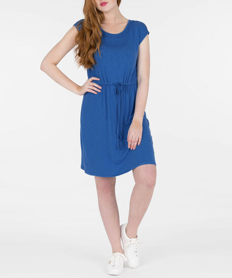 Braided Trim Tie-Waist Sundress, Blue, hi-res