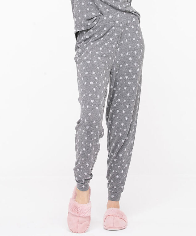 Printed Jogger Pajama Bottoms, Grey/White Snowflakes