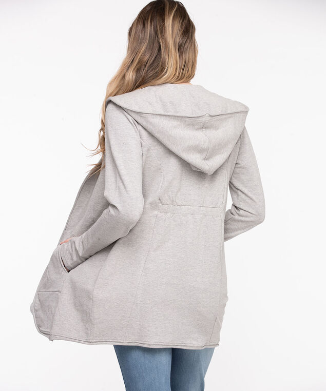 French Terry Hooded Cover-Up, Light Grey Mix