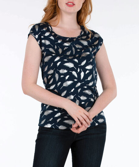Foil Graphic Extended Sleeve Top, Deep Sapphire/Silver, hi-res