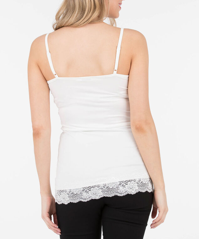 Lace-Trim Strappy Cami, White, hi-res