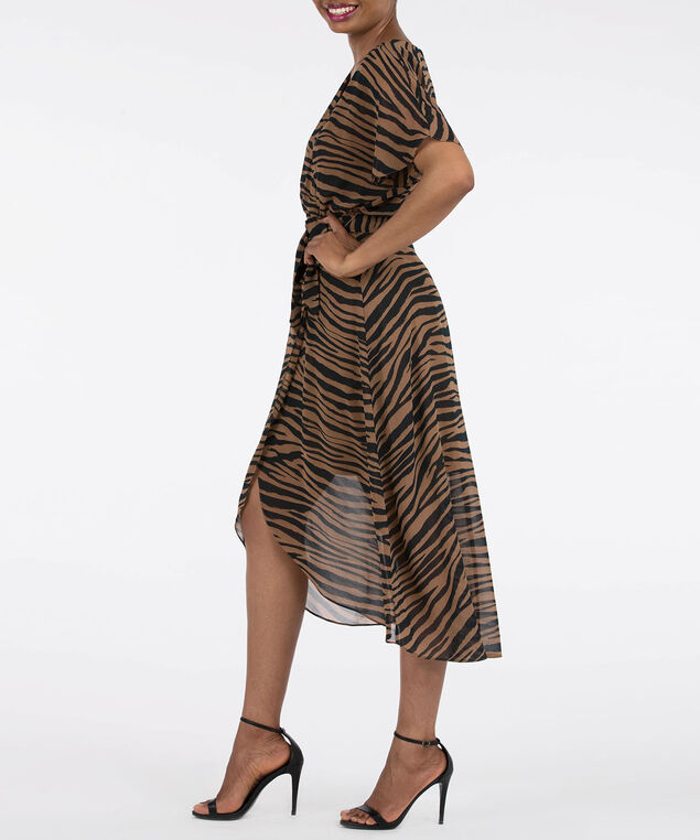 Animal Print Faux Wrap Dress, Black/Brown, hi-res