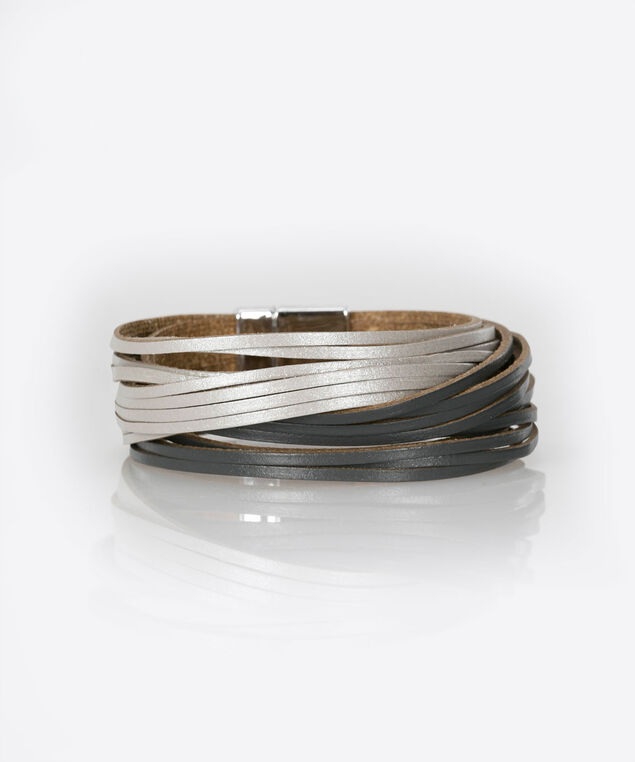 Faux Leather Wrap Bracelet, Silver Grey/Black, hi-res