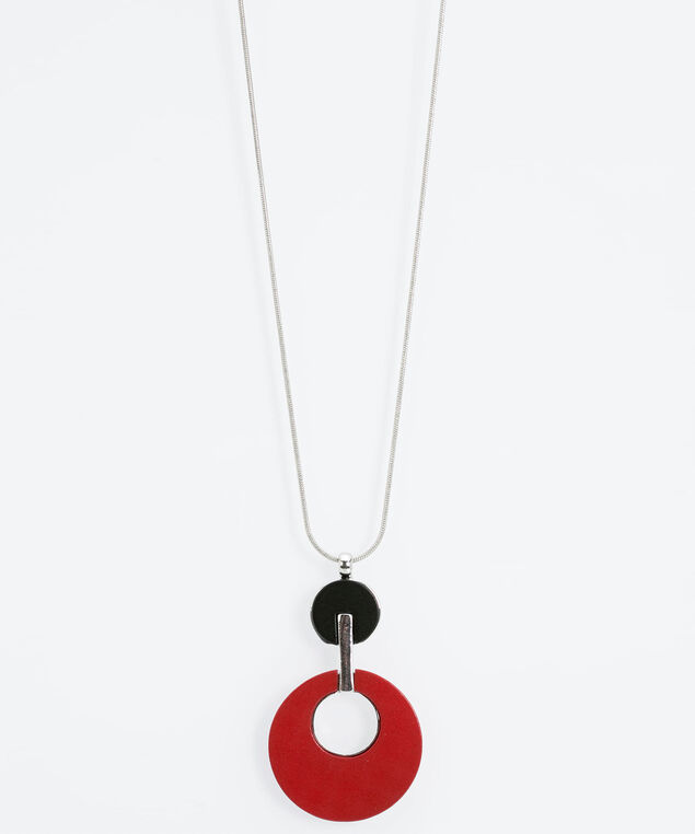 Matte Painted Pendant Necklace, Black/Rhodium/Poppy, hi-res