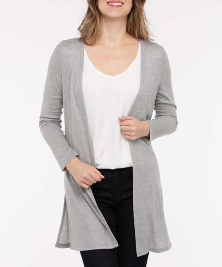Open Front Duster Cardigan, Mid Heather Grey, hi-res