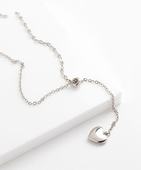 Silver Heart Chain Necklace, Silver, hi-res