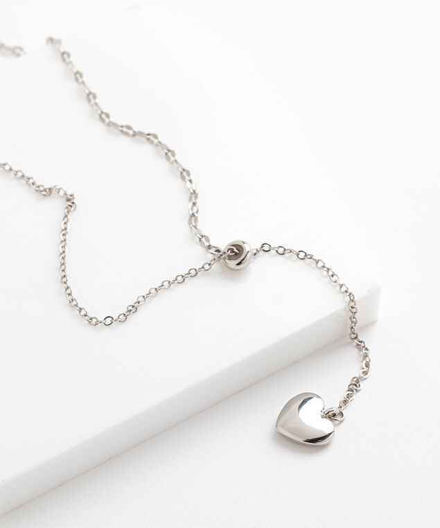 Silver Heart Chain Necklace, Silver