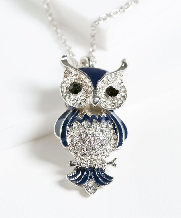 Navy & Crystal Owl Pendant Necklace, Navy/Rhodium, hi-res
