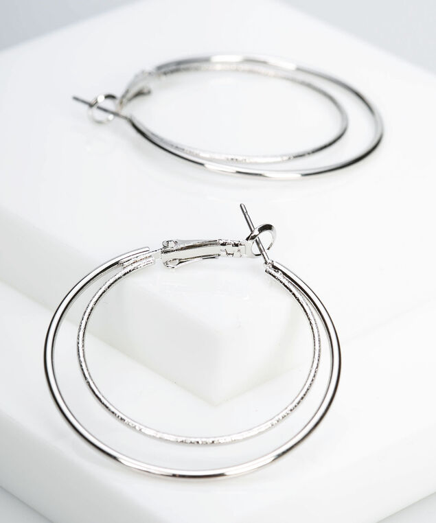 Double Hoop Earring, Rhodium, hi-res
