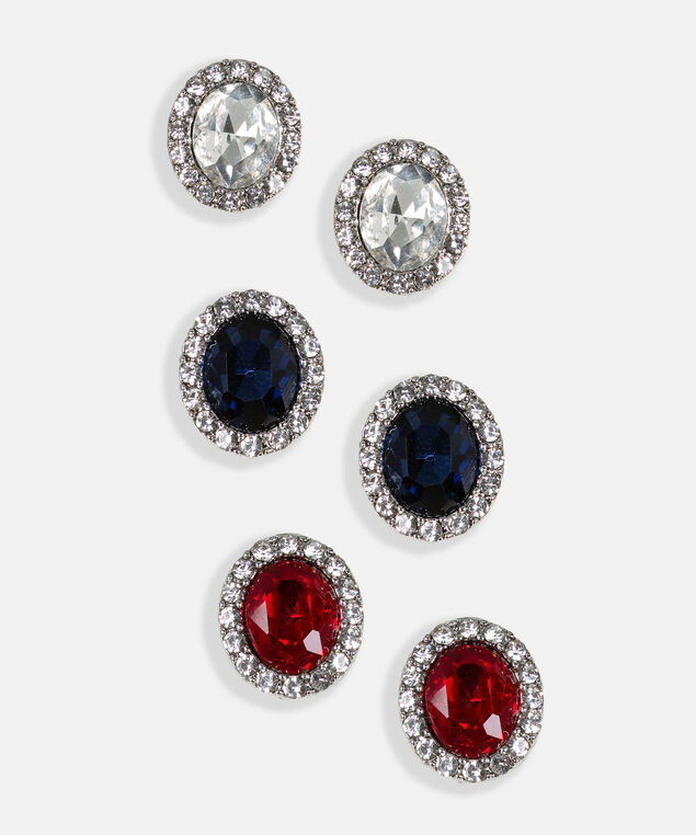 Faceted Stone & Crystal Earring Set, Rhodium/Crimson/Deep Sapphire, hi-res