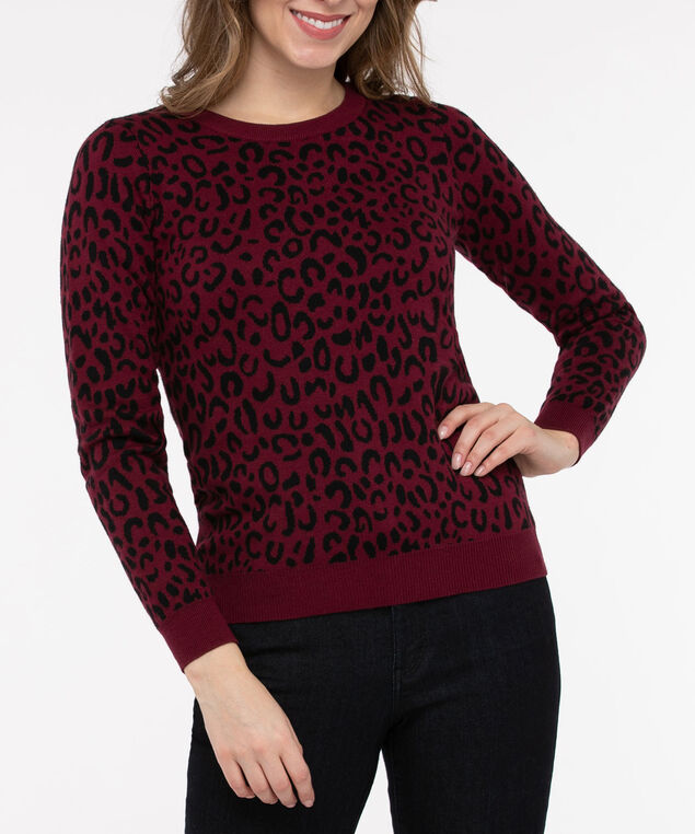 Animal Print Pullover Sweater, Berry/Black, hi-res