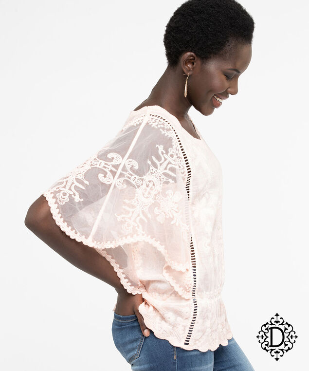 Democracy Embroidered Butterfly Sleeve Blouse, Peach, hi-res