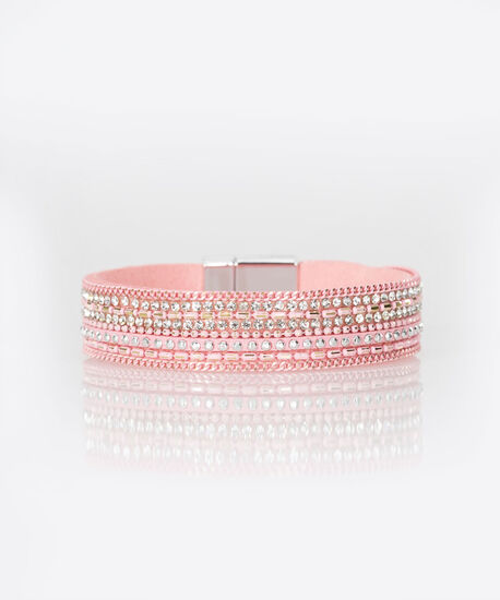 Crystal Faux Leather Wrap Bracelet, Bright Pink, hi-res