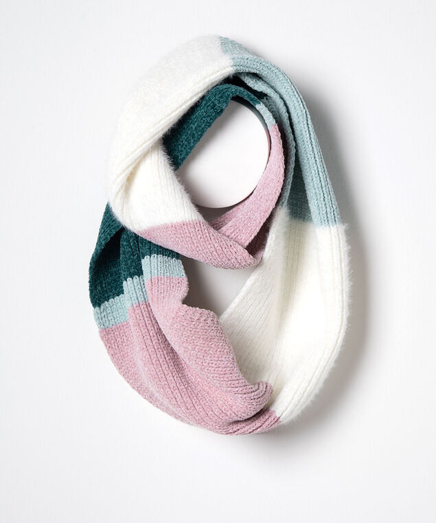 Colourblock Chenille Eternity Scarf, Dusty Blush/Pearl/Teal, hi-res