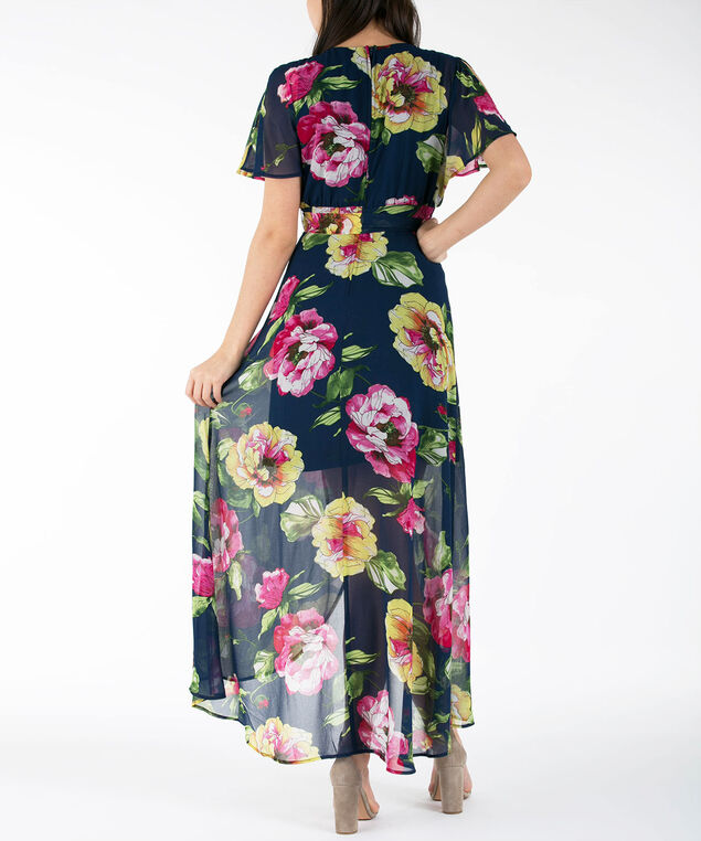 Crossover Flutter Sleeve Maxi Dress, Navy/Pink/Green, hi-res