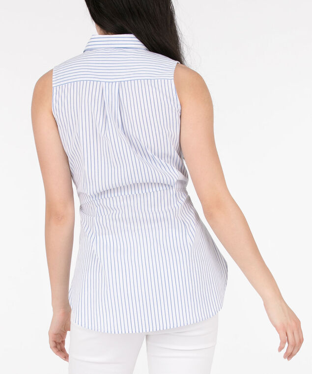 Sleeveless Collared Tie-Waist Blouse, White/Chambray, hi-res