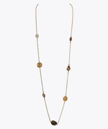 Faceted Stone Stationed Necklace, Brown/Soft Gold, hi-res