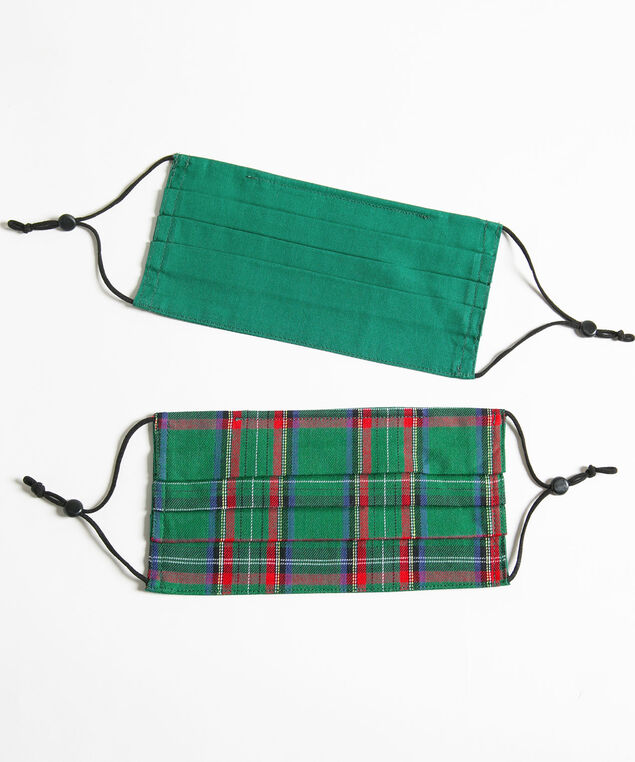 Plaid/Solid Face Mask 2-Pack, Green