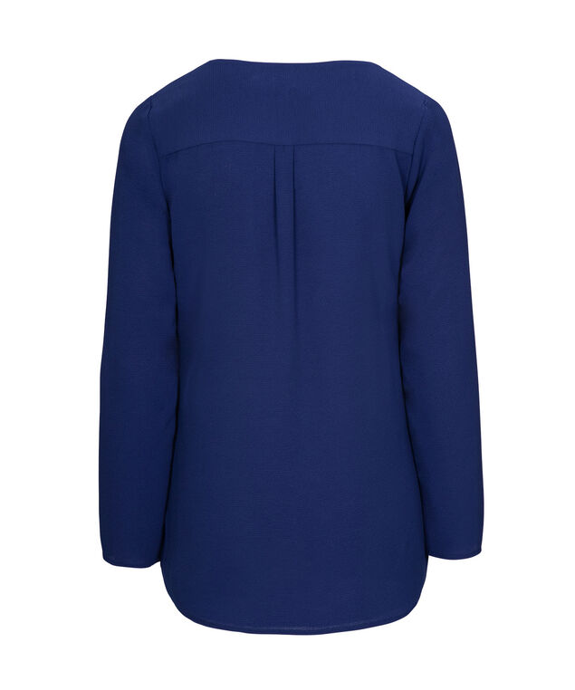 Long Sleeve V-Neck Blouse, Cobalt, hi-res