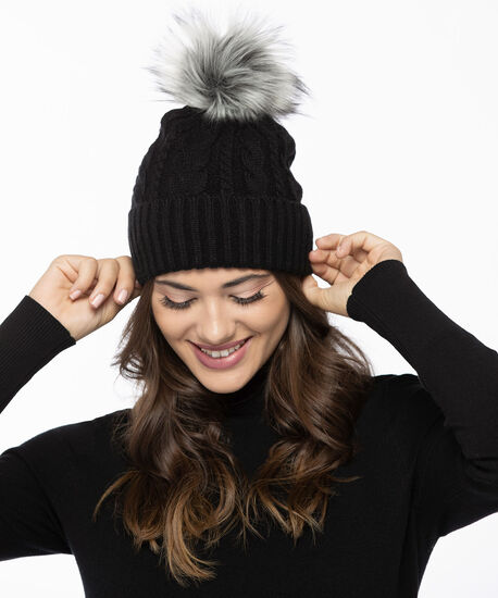 Chunky Cable Knit Toque, Black, hi-res