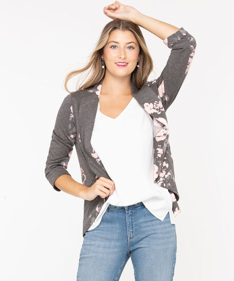 Terry Shawl Collar Cover Up, Heather Grey/Pink, hi-res