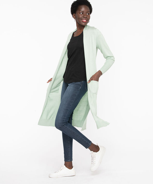 Side Slit Open Duster Cardigan, Frosty Green