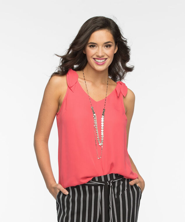 Tie-Strap Sleeveless Blouse, Coral Reef, hi-res