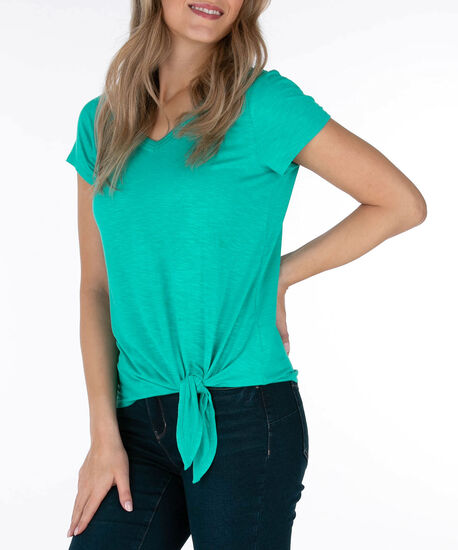 Tie-Front V-Neck Top, Bright Aqua, hi-res