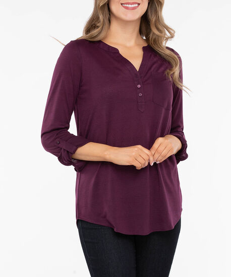 Tab Sleeve Henley Knit Top, Berry, hi-res
