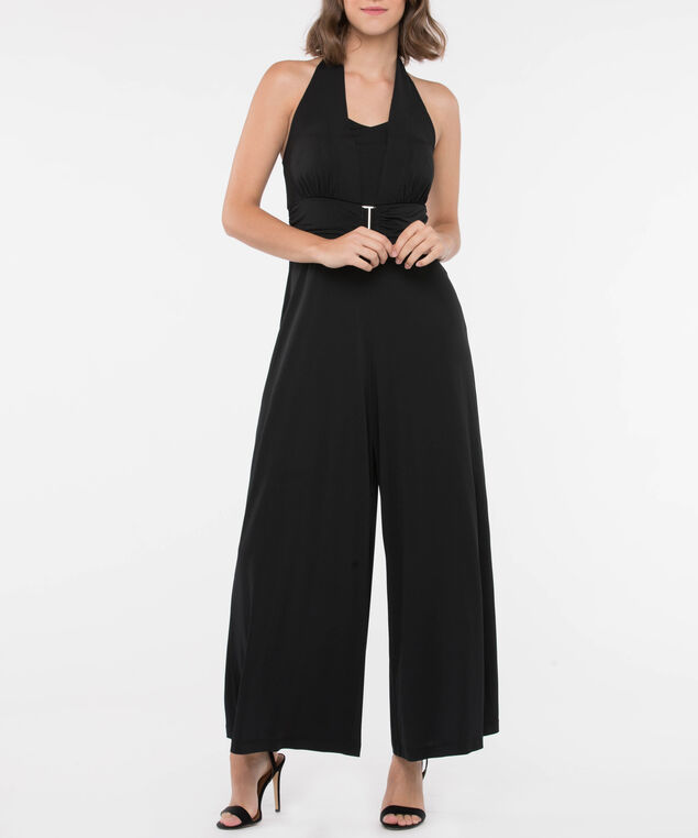 Halter Neck Metal Trim Jumpsuit, Black, hi-res