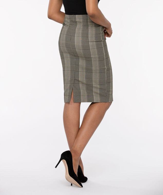 Plaid Pull On Pencil Skirt, Brown Mix, hi-res