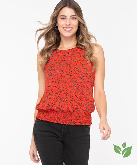 Eco-Friendly Heart Halter Blouse, Red/Black, hi-res