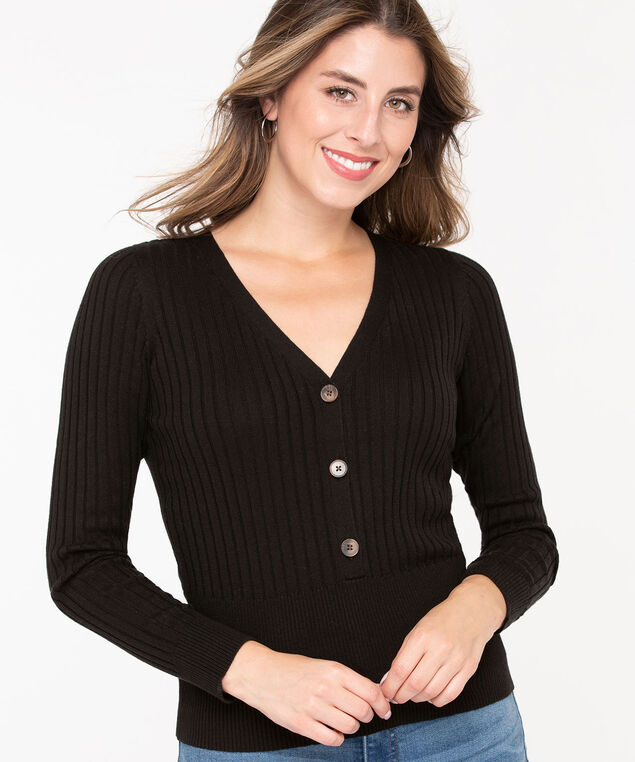 Ribbed Henley Pullover Sweater, Black, hi-res