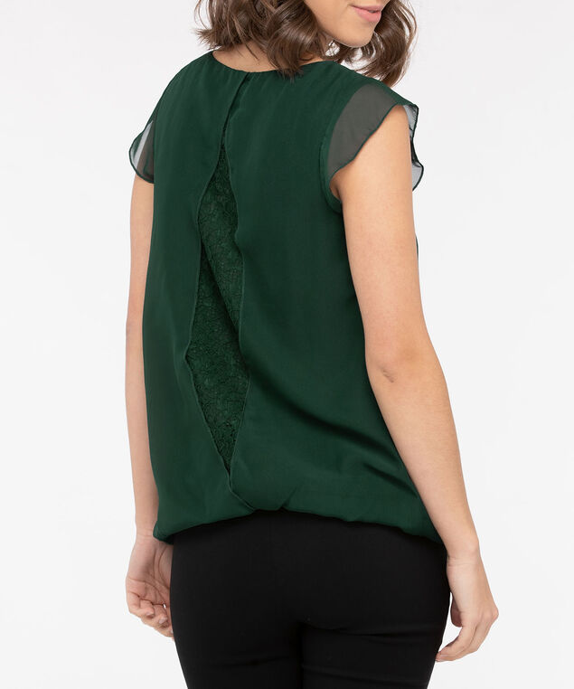 Flutter Sleeve Lace Back Bubble Blouse, Deep Green, hi-res